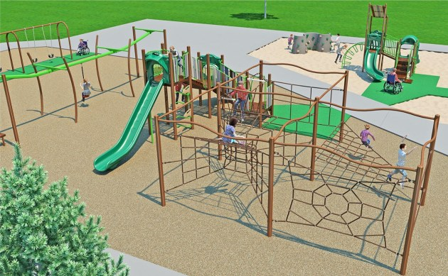 One of several preliminary design concepts for the Bryant Square Park playground.