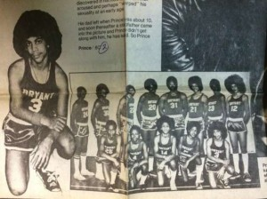 Prince poses for a photo with his junior high basketball team.