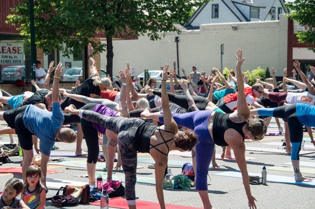 Yoga in the streets at the 2015 Lyndale Open Street. Look forward to dancing in the streets among other activities. Photo by Alex Tsatsoulis.