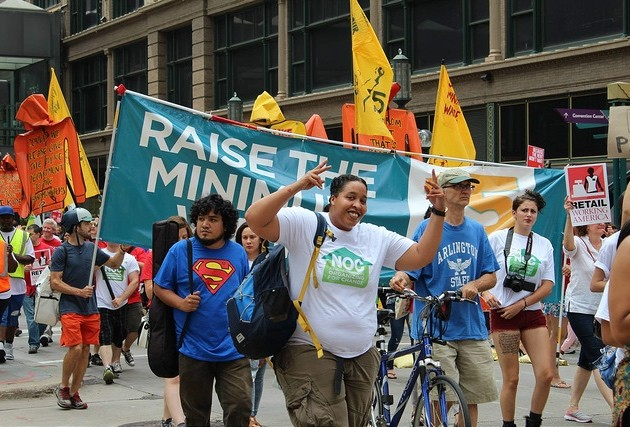 A group marches on Nicollet Mall in support of a $15 an hour minimum wage. Submitted photo