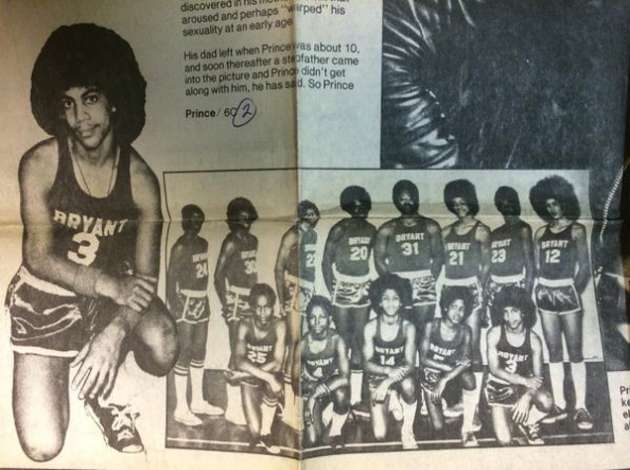 The 1971 Bryant Junior High basketball team included (front row, right-to-left) Russell Gary, Herb Wilburn, Joey Wilburn, Prince Rogers Nelson, and (back row) Greg Boone, Calvin Anderson, Duane Nelson and Paul Mitchell. Credit: