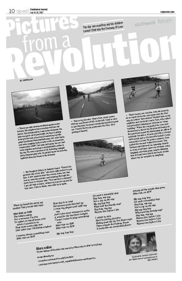 A 2007 column from Jim Walsh tells the story of him and his baseball team riding their bikes down Interstate 35W.