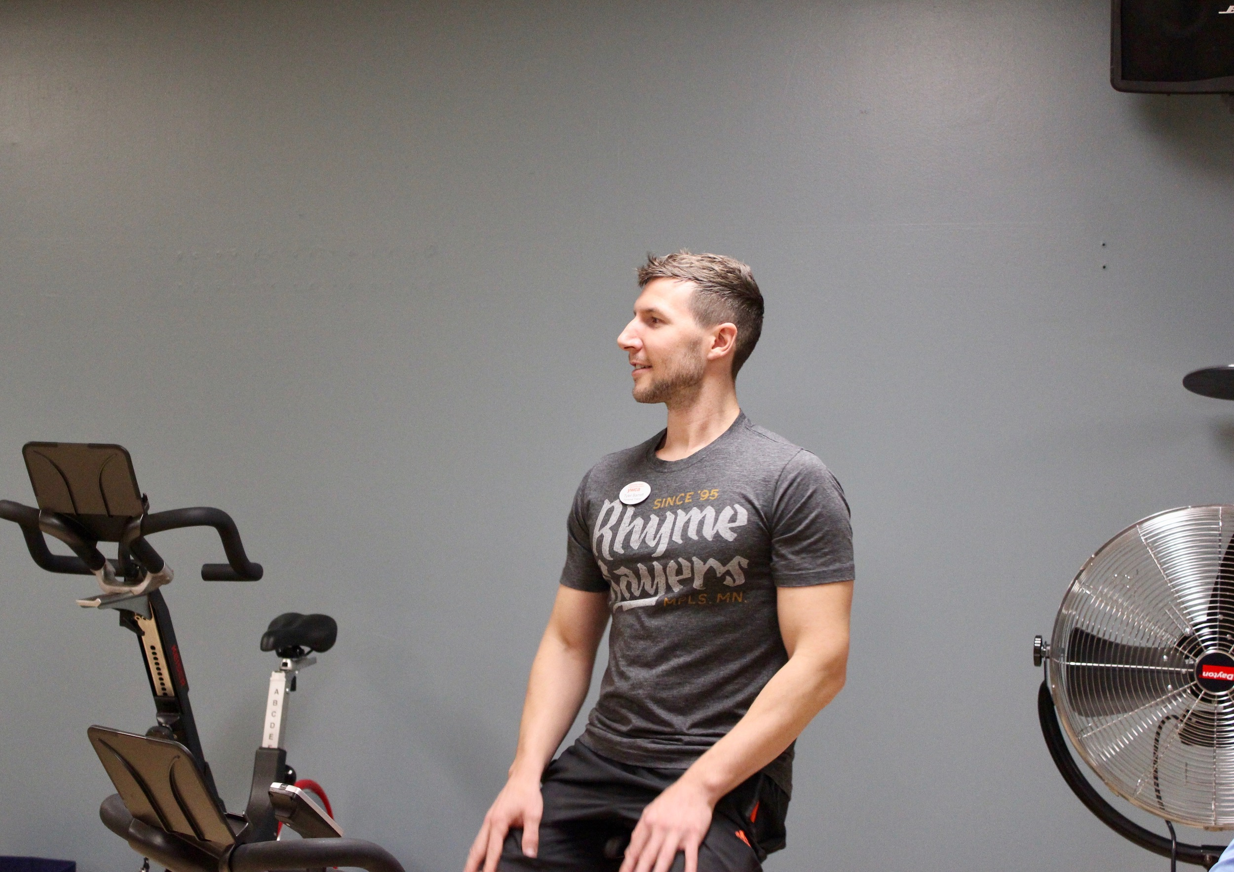YWCA trainer Tyler Barrett leads a Cycle Circle class at the Uptown YWCA on Nov. 27. Photo by Andrew Hazzard.