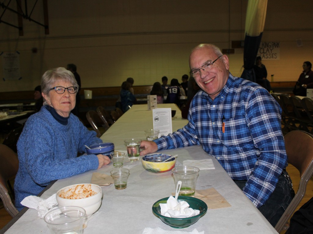 Sandi Knoche and Craig Wiester enjoy bowls of soup.