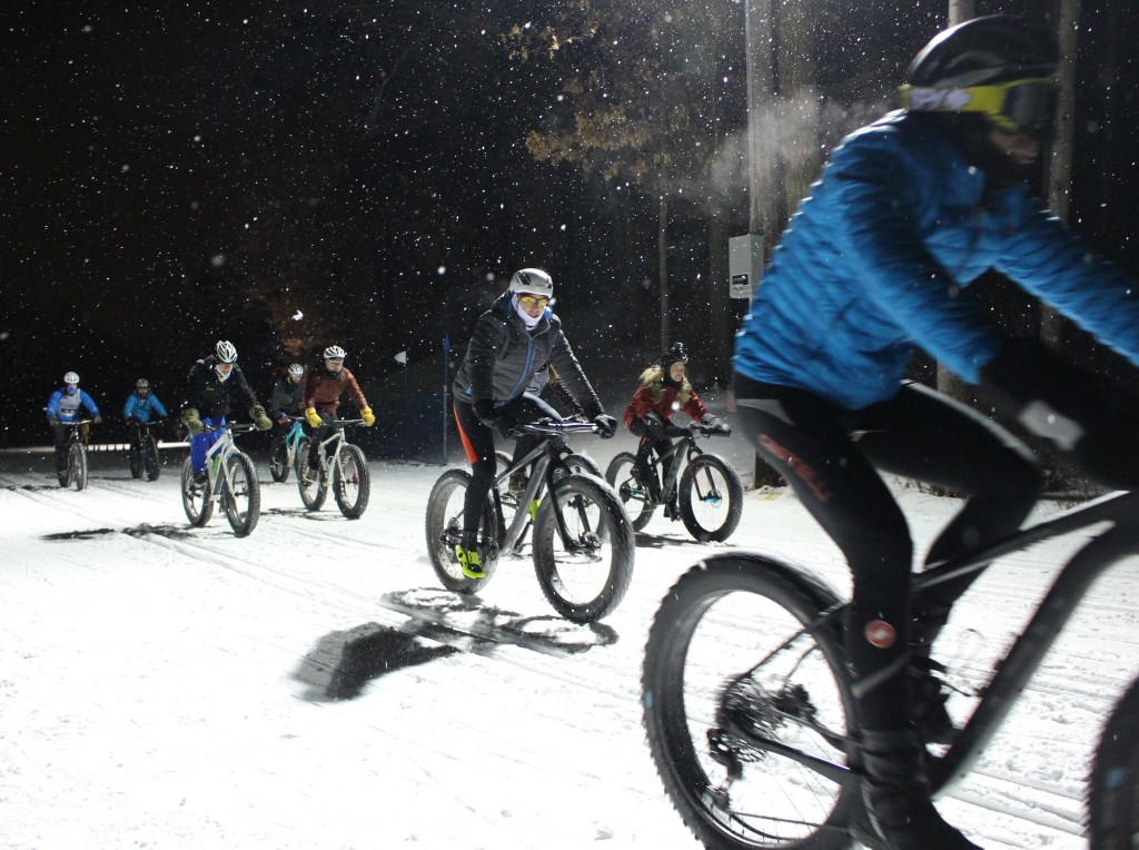 Bikers participate in the Penn Cycle fat tire team sprints Jan. 31 at Theodore Wirth Park. Photo by Nate Gotlieb