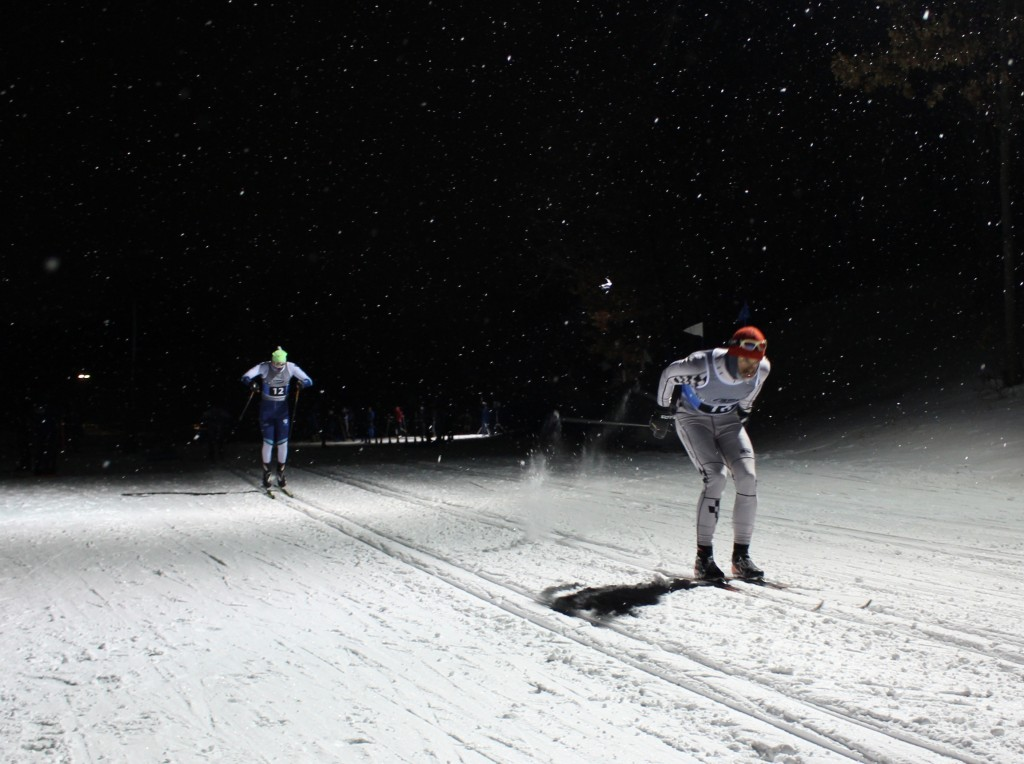 Skier participate in the adult classic team sprints event Jan. 31 at Theodore Wirth Park. Photo by Nate Gotlieb