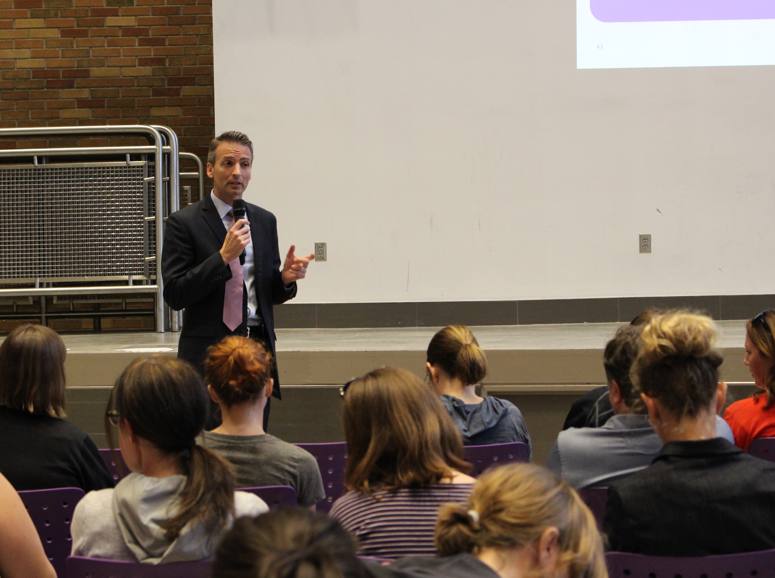 Minneapolis Public Schools Superintendent Ed Graff speaks to community members about the proposed district strategic plan May 16 at Southwest High School.