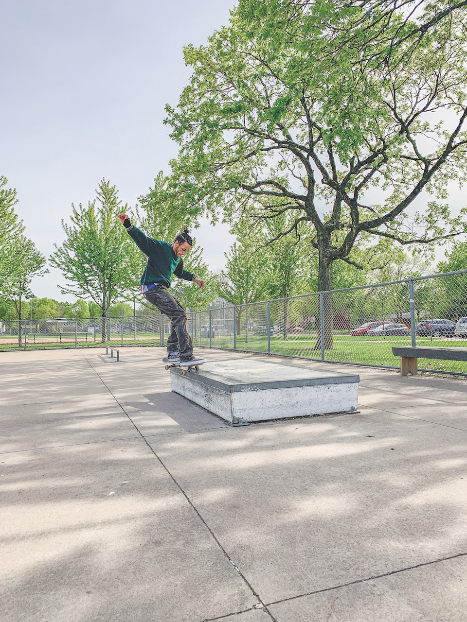 Tyler Kirksey grinds on a box feature at Armatage Park, the city's lone public skate park in Southwest. Photo by Andrew Hazzard