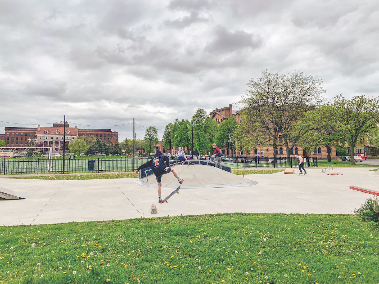 Skaters try tricks and hangout at Elliot Park. Photo by Andrew Hazzard